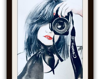 Photography Girl Art Print from Watercolor, Painting by Lana Moes, Watercolor Canon Girl Portrait, black and white decor, Camera Girl Logo