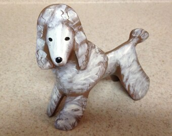 Darling Brown and White LYNDA PLEET Signed Standing POODLE from Menagerie Collection
