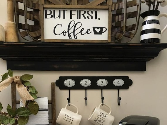 But First Coffee Sign | Farmhouse Decor |Wall Decor | Fixer Upper Look | Wood Framed Sign | Kitchen Decor | Painted Wood Sign