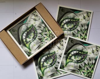 Lover's Eye III - Monochrome Green Eye - Original Art - Archival Print - 5x5 Print - Mixed Media Mandala Zentangle - Eye Drawing