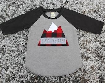 Shred the Gnar Raglan, Shred The Gnar, Buffalo Check Mountain, Mountain Shirt, Colorado Baby, Snowboard Baby, Ski Baby