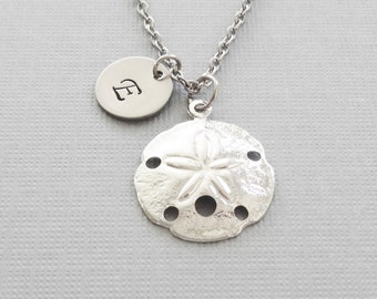 Sand dollar Necklace, Beach Lover, Ocean, Seashell, Nautical, Friend Birthday, Silver Jewelry, Personalized Monogram, Hand Stamped Letter