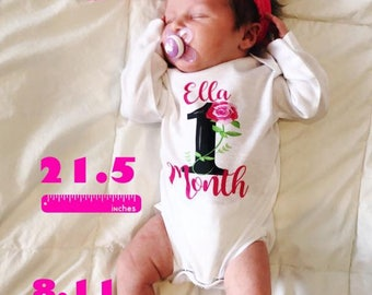 Personalized Monthly One piece body suit / Month by Month baby / Monthly baby shirt/ baby girl floral monthly / floral month by month