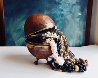 coconut shell box, wooden trivet box, eagle claws, etrog container, vintage jewelry caddy, island decor, boho decor, unusual tiny storage