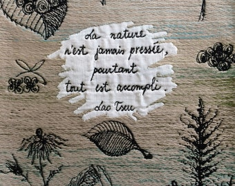Nature Handwoven Wall Hanging #3 | Jacquard, wool, tapestry, doodle, quotation, French