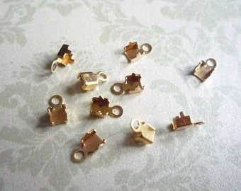 10 Brass Rhinestone Chain Connectors Crimps 3mm Size for 2mm Size Chain