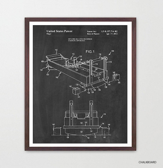 Pilates Mat Exercise Poster: Pilates Reformer Patent Art Pilates Poster Pilates Decor