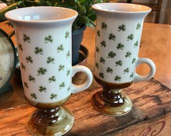 Otagiri Japan Irish Coffee Mugs - Set of 2 **SHAMROCKS** Beautifully Hand Crafted  - Barware & Drink - Mint Condition