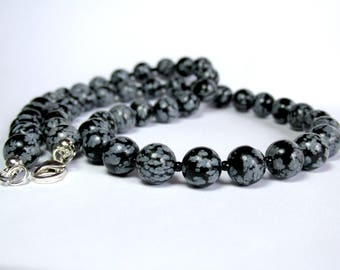 Snowflake Obsidian Necklace, Mens Beaded Necklace, Jewellery for Men, Silver Necklace, Gemstone Necklace, Handmade Necklace