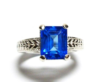 "Neon blue topaz, birthstone ring, solitaire ring, electric blue, engagement ring, s 7     ""Truly Bluely"""