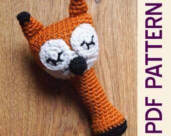 Amigurumi Crochet Sleepy Sly Fox Woodland Baby Rattle Pdf Pattern