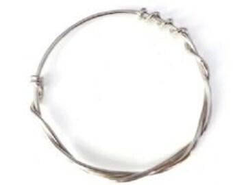 Sterling 925 Silver Bangle - Solid Twisted Rope bracelet design Stacking Bangle