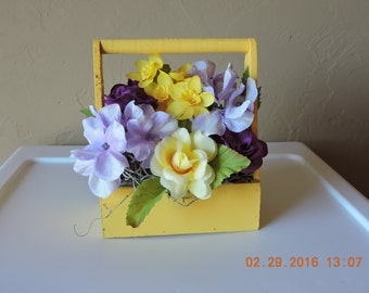 Silk Flower Arrangement-Small Wooden Crate-Thinking of You-Get Well-Congratulations-Birthday-Anniversary-Just Because
