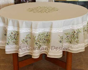 French PETITE OLIVE TAUPE Acrylic Coated Round Tablecloth - French Oilcloth Stain / Water Resistant Tablecloths -Matching Napkins available