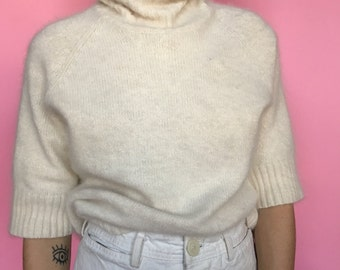 90s Fuzzy Plush Angora Cream Sweater m/l