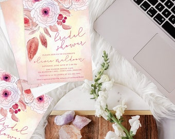 Floral Bridal Shower Printed Invitations - Pink Floral Bridal Shower Invites - Inked Boho Flowers Invitation - Botanical Bridal Shower