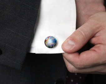 Orion Light Nebula Cuff Links - Galaxy Accessories - Gifts for Men, Dad, Space Cufflinks, Science Wedding, Dark Cosmos, Stars, Fathers Day