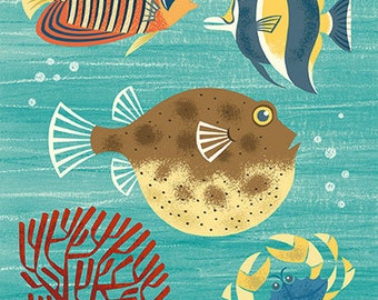 Scenic tropical sea life featuring a puffer fish in mid century modern style - art print by Pieter M. Dorrenboom