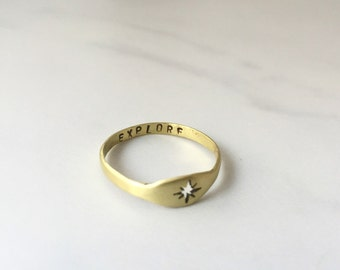 Secret message compass ring - hand stamped personalized message hidden inside