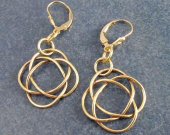 Celtic Knot, Earrings, brass, dangle, made, birthday, Anniversary, Gift
