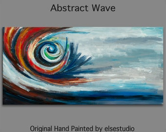 """Abstract Spiral,  Art  Painting, Original Texture wall Art, abstract oil painting, Modern Home Decor 48"""" x 24"""""""