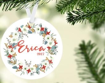 Custom Name Christmas Ornament with Wreath Design