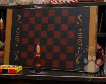 1867 Checkerboard,Folk Art, Primitive, Game Board, Wall Art