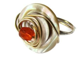 Tourbillon de fil d'or vintage Pearl bague bouton, fil enroulé, enveloppements, taille 7, Tangerine Orange focale, accessoires de bijoux, bague taille 7