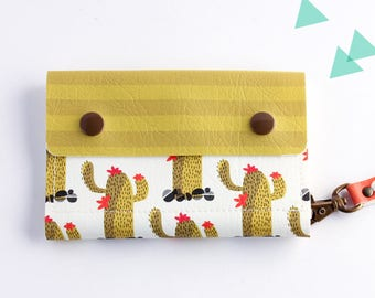 Cactus Wallet, Small Wallet, Wallet Women, Girl wallet, Compact wallet women, Cute Wallet, Vegan wallet, Handmade wallet, Fabric wallet