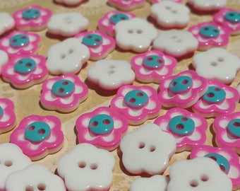 "Pink Flower Buttons - Dark Pink and White Flowers Teal Centers - Sewing Button - 11mm - 1/2"" Wide - 100 Buttons - DESTASH SALE"