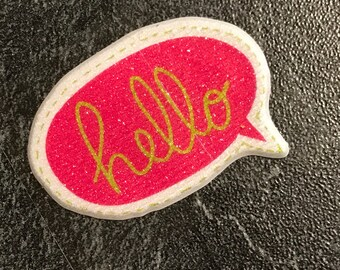 """Fabric speech bubble stickers 3D word """"HELLO"""" yellow on pink with white round - """"Hello"""" in French"""