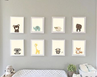 Baby Animal Nursery Art, Nursery Prints, Zoo Nursery Wall Art, Baby Wall Art
