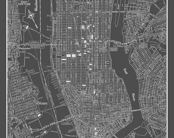 new york city map new york city manhattan street map vintage dark gray print poster