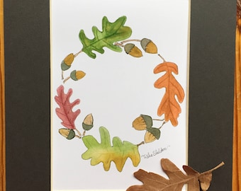 Frameable Watercolor Print, Autumn Leaves and Acorns