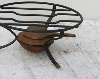 Antique Swiss Made Copper Burner With Metal Stand