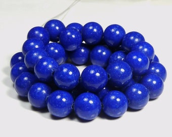 4mm Lapis Blue Mashan Jade Round Gemstone Beads - 16 Inch Strand - BB25