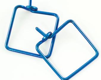 1 Pair - Blue Niobium Hypoallergenic Mini Square Earring Hoops - 20 gauge - You Pick Size 10mm, 12mm, 14mm