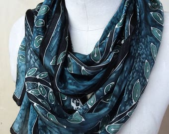 Leaves on Teal Blue -  Hand Painted Silk Scarf - Large Silk Scarf 14x72 inches - wearable art