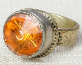 Orange & Silver Vintage Afghan Ring Handmade in Afghanistan US Size 9 Unisex Old Glass Tribal Ethnic Statement Ring 7I