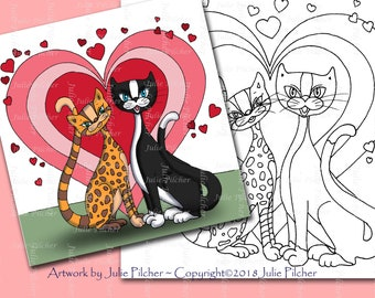 Digital Stamps, Digi Stamp, Instant Download, Printable Colouring Page, Line Art, Card making, paper crafts, Purrfect Couple, Tuxedo, Cats