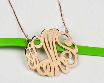 Monogram Necklace, Rose Gold Monogram Jewelry, Script Monogram Necklace, Personalized Initial Necklace, Letter Monogram Necklace, Initial