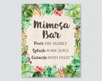 Printable Succulent Mimosa Bar Sign - Rustic Bridal Shower Mimosa Bar Sign Printable - Rustic Green Succulent Bridal Shower Sign - 0025