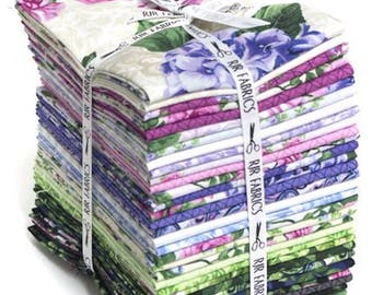 RJR Fabrics - Beverly Park Fat Quarter Bundle by Flaurie and Finch / Purple, Lavender, Dark Green, Light Green Floral, Leaf, Circle Prints