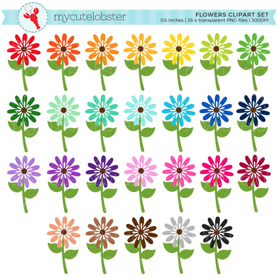 Rainbow Flowers Clipart Set Flower Clip Art Spring Flowers