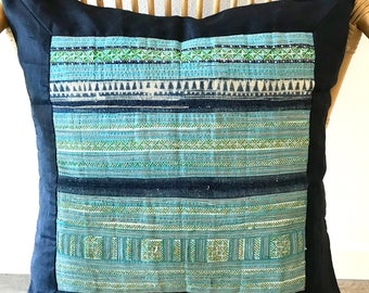 Pillow Cover, Bohemian, Hmong, Ethnic, Silk, Square, Navy Blue, Green,