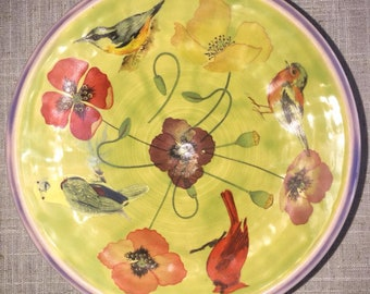 Birds and Poppies Bowl