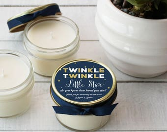 Twinkle Twinkle Little Star Baby Shower Favor Candles | Girl Baby Shower Favors | Boy Baby Shower Favors |Soy Candle Favors - Set of 12