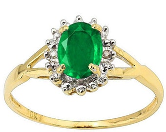 3/4 CARAT EMERALD & DIAMOND 10KT Solid Yellow Gold Ring Size 7