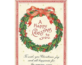 A Happy Christmas to You Holiday Card by Cavallini to Mail or for Framing, Collage, Scrapbooking and Paper Arts PSS 2722