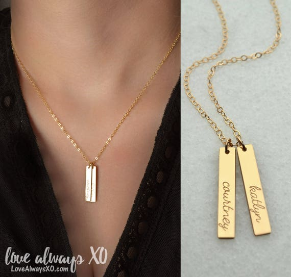 pendant anniversary personalized link date numeral necklace rectangle wedding bar gold filled i roman